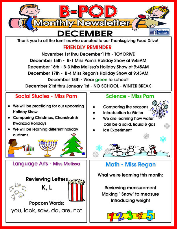 B-pod_December_Newsletter Sample Daycare December Newsletter Templates on november monthly, for march home, creative arts, for parents summer, march month, for august, for december print out, about holidays off, article examples for,