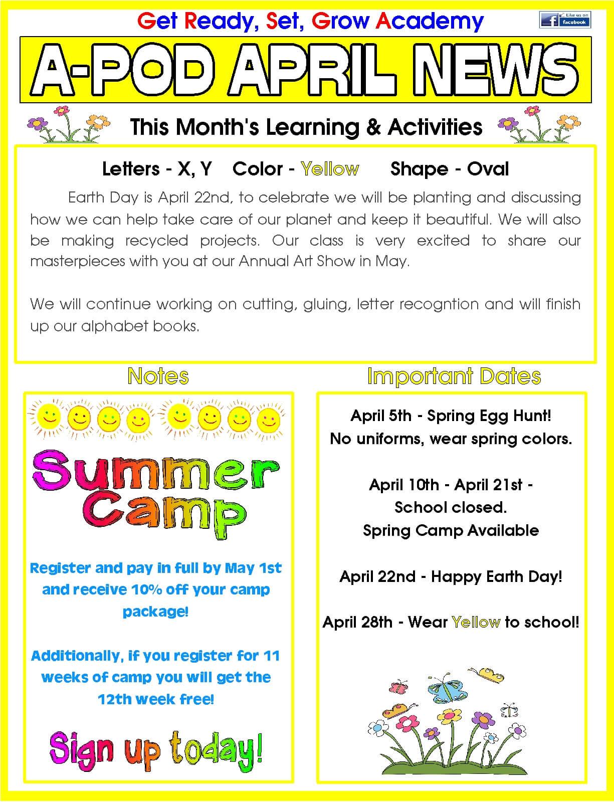 Kindergarten Calendar Art : Delray beach day care facility monthly newsletter